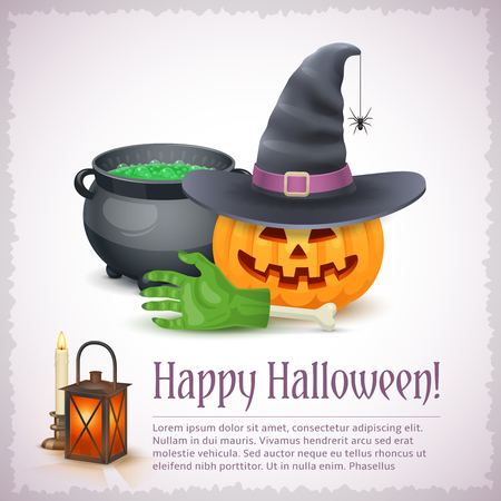Happy Halloween card with pumpkin hat and cauldron. Awesome holiday vector illustration with text example. Ilustrace