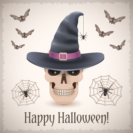 Happy Halloween card with a skull in witch hat. Trendy holiday vector illustration with bats and web spiders.