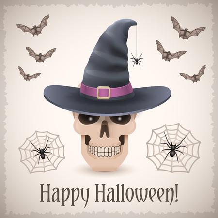 Happy Halloween-Karte mit einem Schädel in Hexenhut. Trendy Urlaub Vektor-Illustration mit Fledermäusen und Web-Spider. Standard-Bild - 66299281