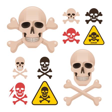 Schädel mit gekreuzten Knochen als Symbol der Gefahr Alarm. Verschiedene Arten von Knochen Positionen und Farbvariationen. Standard-Bild - 66331195