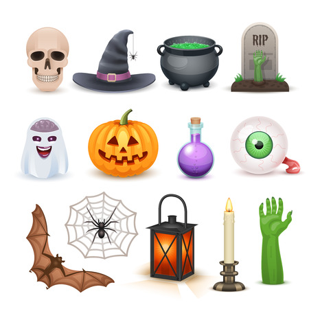 Awesome Happy Halloween elements isolated on white Ilustrace