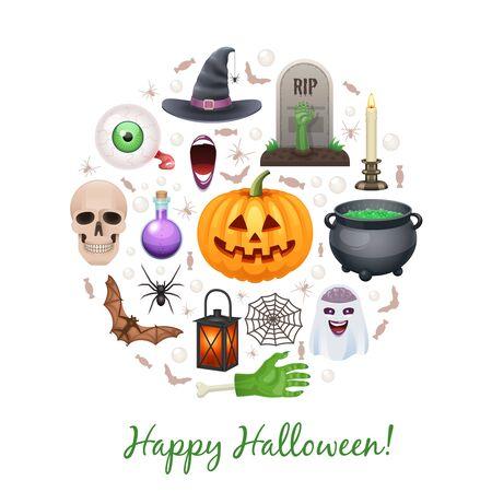 Happy Halloween Urlaub Elemente im Kreis gebildet getrennt auf Weiß Standard-Bild - 66155439