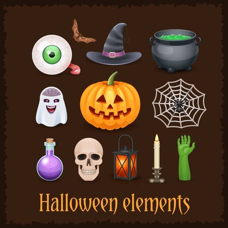 Nice Happy Halloween elements on dark background.