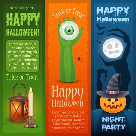 Happy Halloween vertikale Banner. Drei Arten von Banner für Halloween-Design. Standard-Bild - 66330645