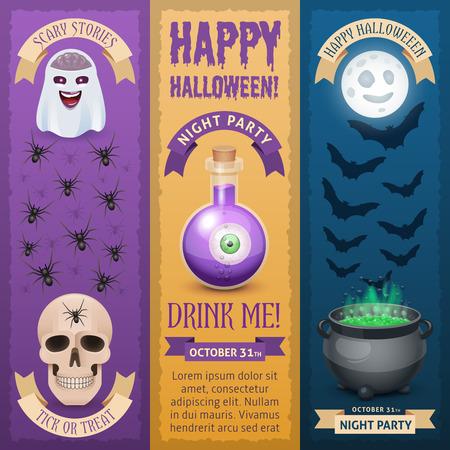 Happy Halloween vertikale Banner. Drei Arten von stilvollen Banner für Halloween-Design. Standard-Bild - 66330646
