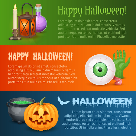 Happy Halloween horizontal banners. Three types of banners for Halloween design with elements and text placeholders.
