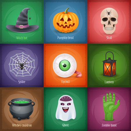 Happy Halloween Quadrat Banner mit populären Symbolen. Illustration. Standard-Bild - 65989281