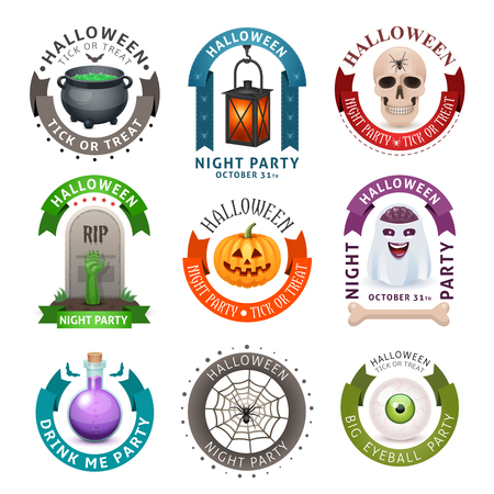 Happy Halloween badges en labels geïsoleerd op wit. Fancy design illustratie.