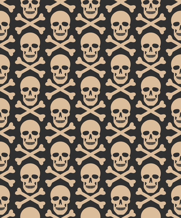 Skull seamless dark pattern.  swatches included. Ilustrace