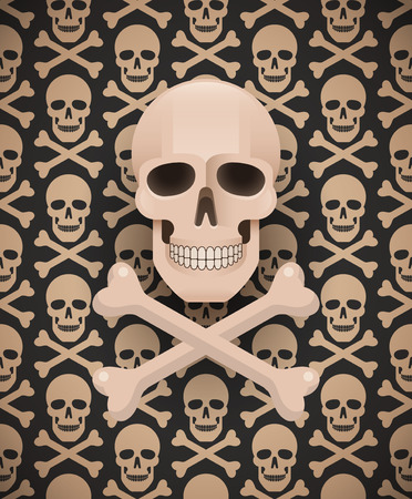 Huge skull on seamless dark pattern.  swatches included. Ilustrace