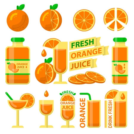 Nice orange fruit and slices. Fresh orange juice in bottle and glass for fit and healthy life. Design vector elements made in flat style.