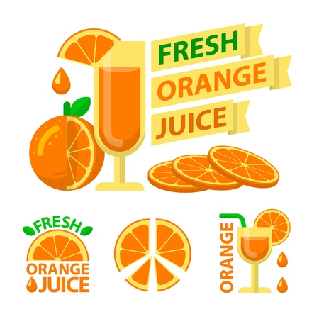 Fresh orange juice and slices. Badge and emblems of orange juice for fit and healthy life. Vector elements made in flat style. Stock Illustratie