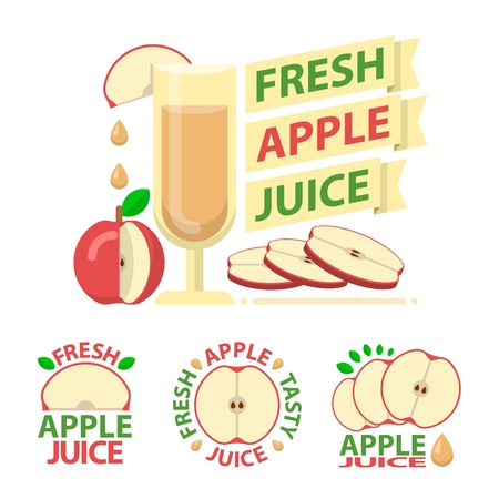 Red apple juice and slices. Badge and emblems of apple juice for fit and healthy life. Vector elements made in flat style.