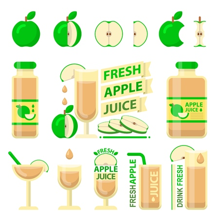 Green apple fruit and slices. Fresh apple juice in bottle and glass for fit and healthy life. Design vector elements made in flat style. Stock Illustratie