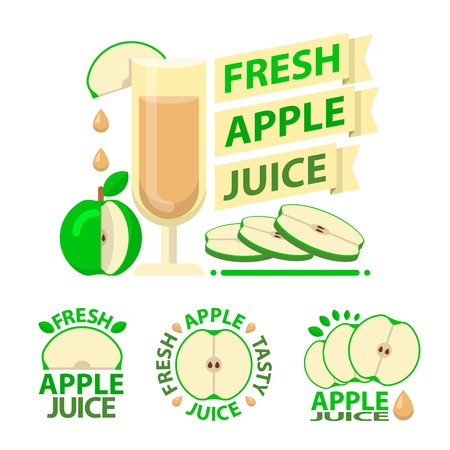 Green apple juice and slices. Badge and emblems of apple juice for fit and healthy life. Vector elements made in flat style.