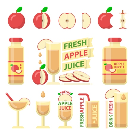 Red apple fruit and slices. Fresh apple juice in bottle and glass for fit and healthy life. Design vector elements made in flat style. Stock Illustratie