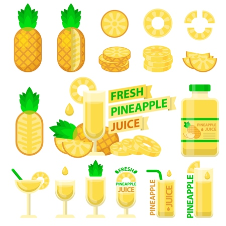 Pineapple fruit and slices. Fresh pineapple juice in bottle and glass for fit and healthy life. Design vector elements made in flat style.