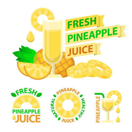Pineapple juice and slices. Badge and emblems of pineapple juice for fit and healthy life. Vector elements made in flat style. Ilustracja