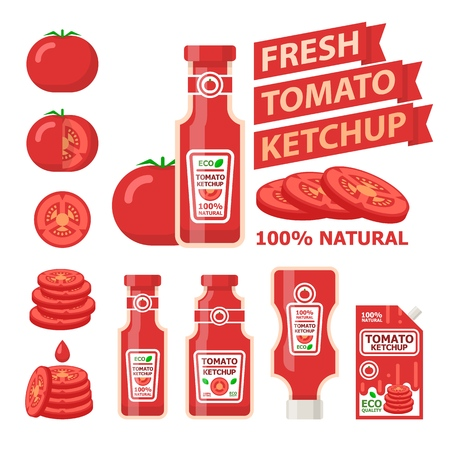 Tomato ketchup and bottles. Fresh tomato ketchup in bottle and tasty food. Design vector elements made in flat style.