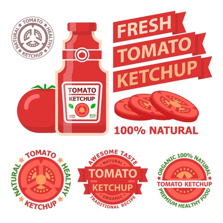 Tomato ketchup and bottles. Badge and emblems of natural organic tomato ketchup for tasty food. Vector elements made in flat style. Stock Illustratie