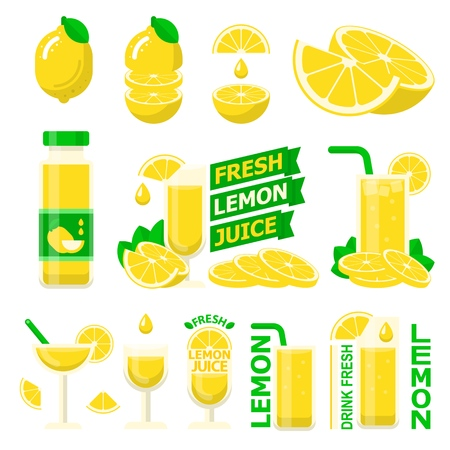 Lemon fruit and slices. Fresh lemon juice in bottle and glass for fit and healthy life. Design vector elements made in flat style. Stock Illustratie
