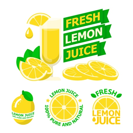 Fresh lemon juice and slices. Badges and emblems of lemon juice for fit and healthy life. Vector elements made in flat style.