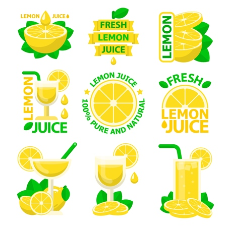 Natural lemon juice and slices. Lemon juice badges and emblems for fit and healthy life. Vector elements made in flat style.