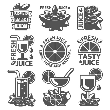Tasty orange lemon grapefruit juice badge labels. Monochrome vector elements made in flat style.