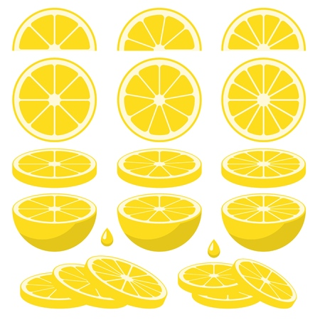 Set of fresh lemon slices. Vector elements made in flat style.