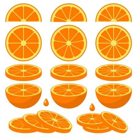 Set of fresh orange slices. Vector elements made in flat style. Stock Illustratie