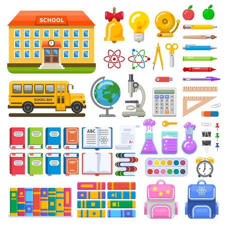Set of school objects and elements. School building, bus, pens and pencils, books and microscope. Vector illustration for education design. Stock Illustratie