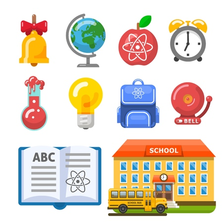 School building, bus and objects. School bell, bus, apple, book, chemistry flask and bulb. Vector illustration for education design.