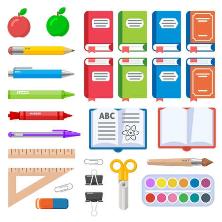 Set of books pens markers and crayons. Flat vector illustration for education design.