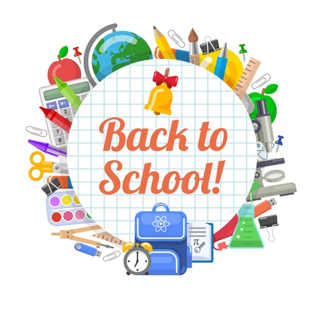 Time to back to school objects round banner Stock Illustratie
