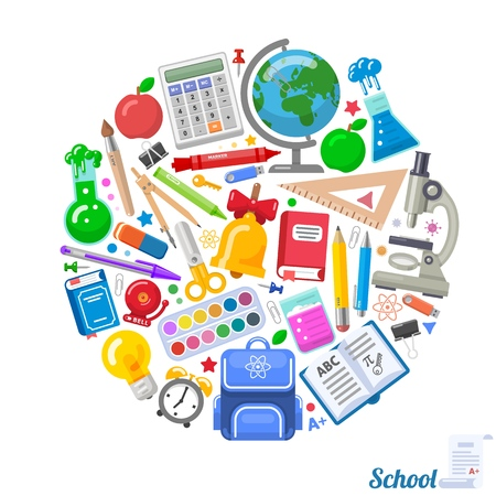Round formed banner of school objects for design. Nice combination of school elements. Vector illustration for education design. Standard-Bild - 112157135