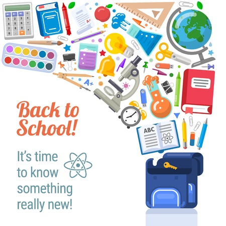 Back to school placard with flying objects Stock Illustratie