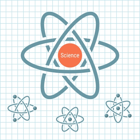 Science element with rotating atoms. Vector illustration for science design. Stock Illustratie