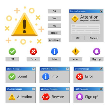 System warning and attention messages and notices Ilustracja