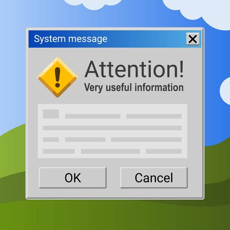 Attention message on blue and green background. Computer operation system information screen banner.
