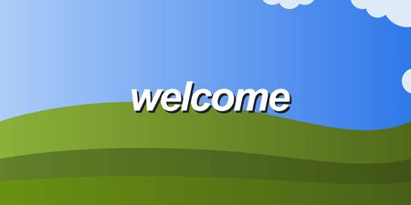 Welcome message on blue and green background