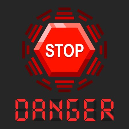 System in danger message with stop sign Ilustracja