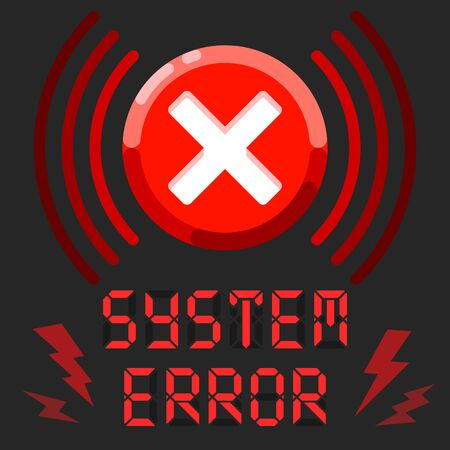 System error alert message with alarm sign Ilustracja