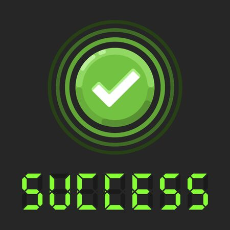 Success message with green check sign. Nice vector banner of success with green round button with check icon.