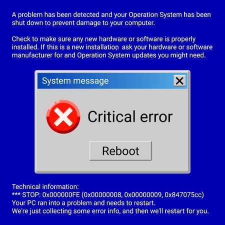 Critical error system message on blue screen