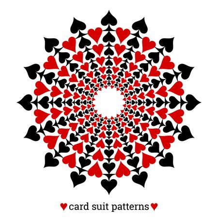 Gambling card suit poker pattern made with spades and hearts Ilustracja