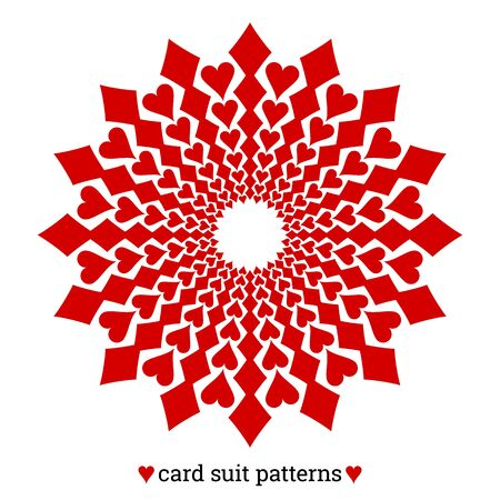Gambling card suit poker pattern made with diamonds and hearts