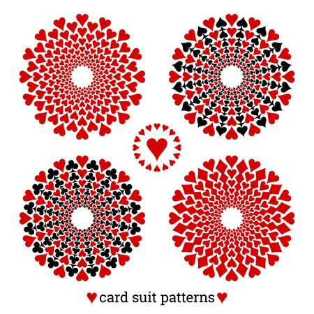 Gambling card suit poker four vector patterns based on hearts