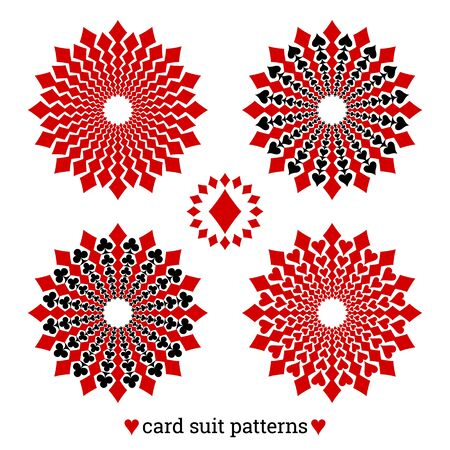 Gambling card suit poker four vector patterns based on diamonds Ilustracja