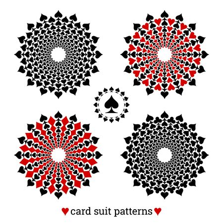 Gambling card suit poker four vector patterns based on spades