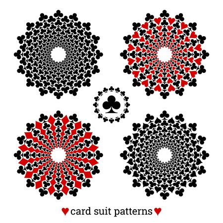 Gambling card suit poker four vector patterns based on clubs